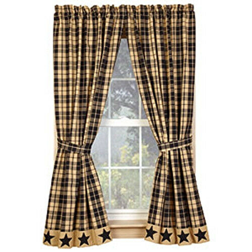 new primitive country farmhouse tan black star plaid curtain window panels 63 window treatments hardware home garden