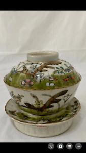 A set of Chinese antique porcelain tea cup bowl vase Qing dynasty scholar art