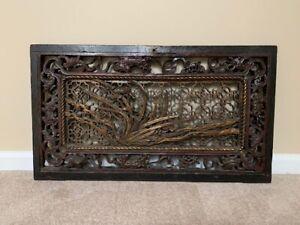 LARGE Antique Chinese Wood Carved Art Panel Orig. Cab Door Barrel keyhole 1800s
