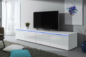 details sur luv double meuble tv 200 cm blanc noir gris laque brillant design salon moderne