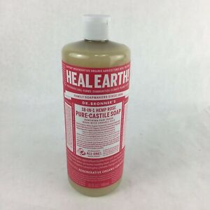 Dr. Bronner's Pure Castile Liquid Soap Made with Organic Oil Soap Hemp Rose 32oz