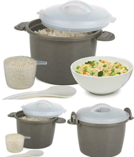 microwave rice cooker steamer lid pampered chef cup bowl kitchen 4 piece gray