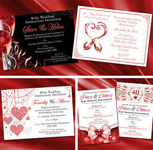 Details About Personalised Ruby 40th Wedding Anniversary Invitations Invites