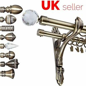 details about metal double curtain pole rod set 25 19mm antique brass barocco bracket bedroom
