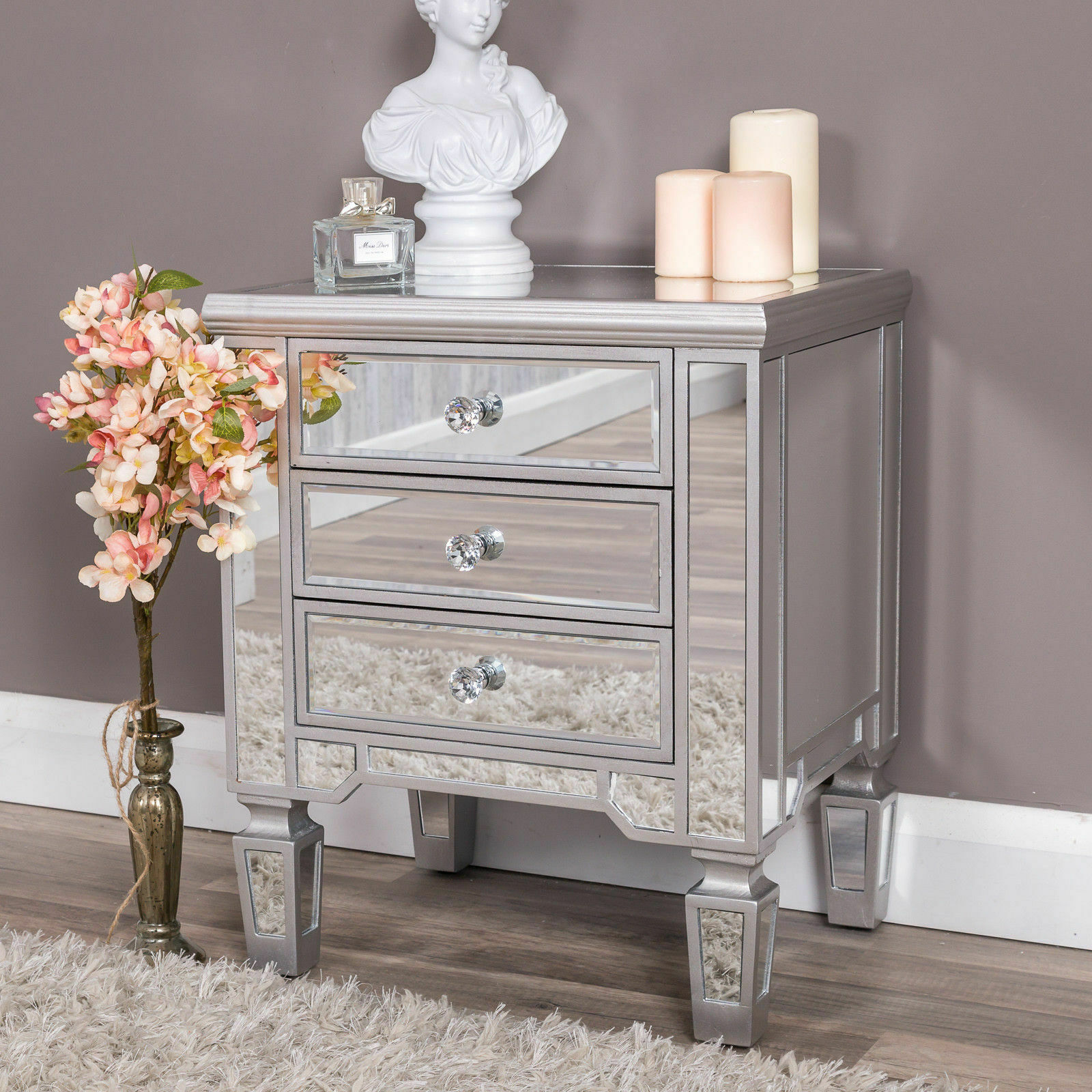 Details About Silver Mirrored Bedside Table Chest Venetian Bedroom Furniture Glass Cabinet