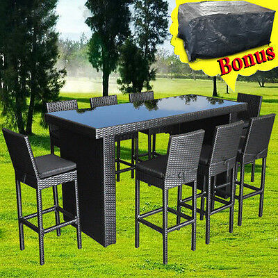 outdoor furniture bar table chairs patio dining pool high rattan wicker set 9pcs ebay
