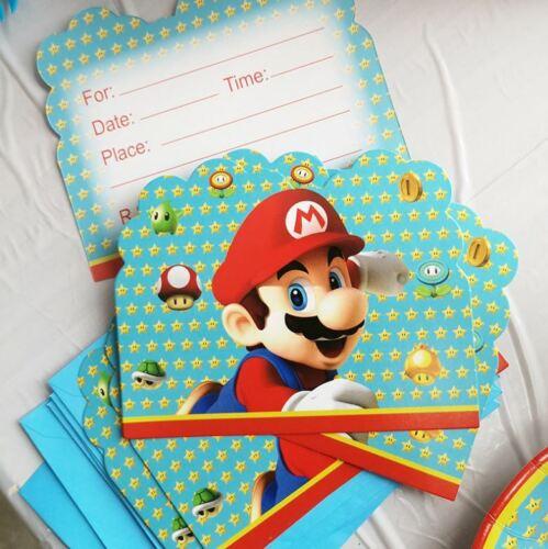 feste besondere anlasse pack of 6 super mario birthday party invitation w envelops mobel wohnen blowmind com br