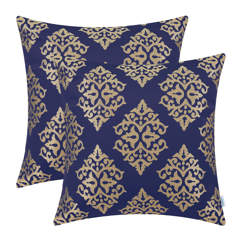 2pcs navy blue gold cushion cover pillow shells damask floral sofa home 45x45cm