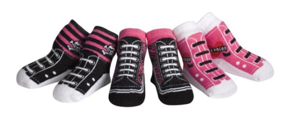 Jazzy Toes Rock Chick Kicks Socks-Gift Set-3 Pair-Size 12 ...