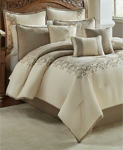 details about hallmart collectibles hillcrest 10 pc comforter set king ivory gold