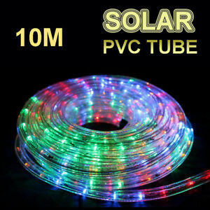 Details About Solar 10m Multicolored Led Rope Lights Pvc Hard Tube Party Christmas Light Xmas