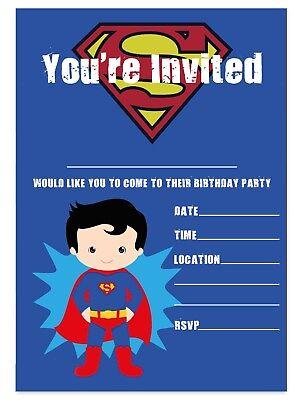 superman theme birthday party invitations superhero invites children boys kids ebay