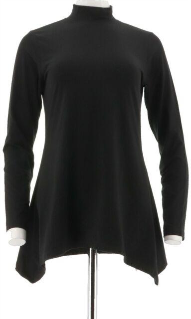 Download Denim Co Long Sleeves Mock Neck Jersey Trapeze Top Black L ...