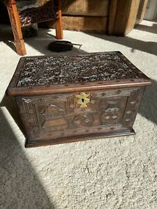 A very rare 18\19th century Chinese carved rose wood or possibly ZiTan box