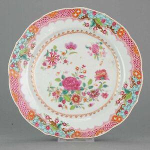 Antique Chinese 18C Qianlong Fencai Famille Rose Plate Flowers Enamel[:z...