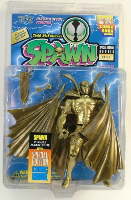 1995 Mcfarlane Toys S1 Gold Spawn Special Edition Action Figure With Comic Book For Sale Online Ebay