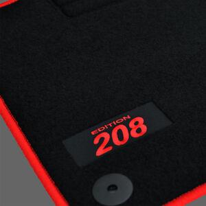 details sur 4 tapis sol peugeot 208 3 5 portes moquette logo rouge sur mesure