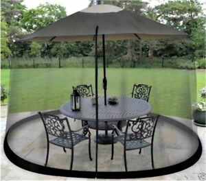 details about mosquito screen for outdoor patio table umbrella net cover black shade netting