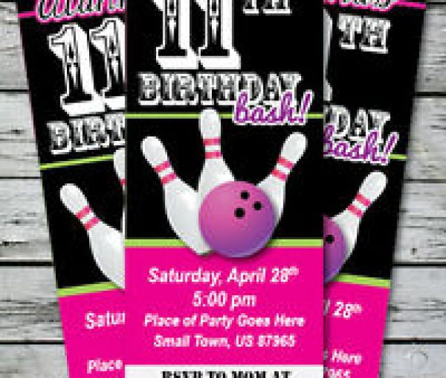 Image Is Loading Bowling Birthday Party Invitation Ticket Stub Any Age