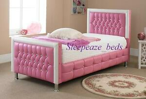 Image Is Loading Pink Leather Bed With Mattress Memory Foam Single