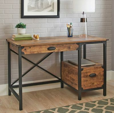 small desk rustic vanity antique writing center table industrial wood metal new 630299493506 ebay