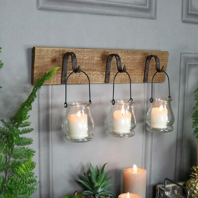 Rustic wall mounted hook glass jar lantern tealight candle ... on Wall Mounted Candle Holder id=68851