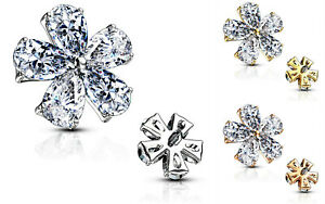 Microdermal Anker Piercing Aufsatz Dermal Anchor Blüte Kristalle Weiß 1,6mm