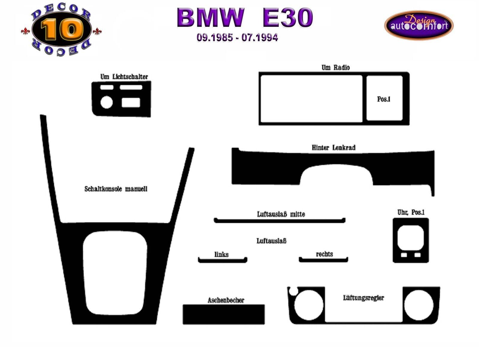 Bmw E30 3 Series Interior Dash Trim Kit 3m 3d 10 Parts