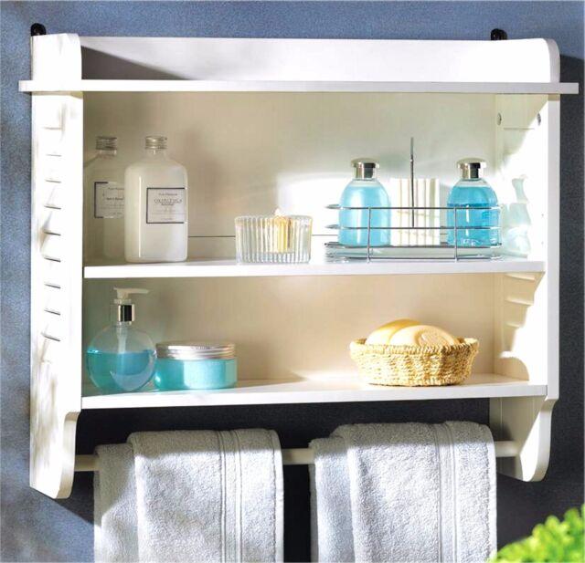 white wood nantucket bathroom bedroom wall towel rack storage shelf 3 shelves