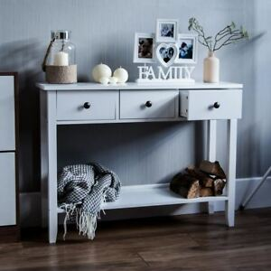 details sur windsor 3 tiroirs table console etagere entree cote fin coiffeuse bureau blanc afficher le titre d origine