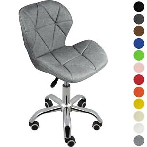 Cushioned Computer Desk Office Chair Chrome Legs Lift Swivel Small Adjustable Ebay