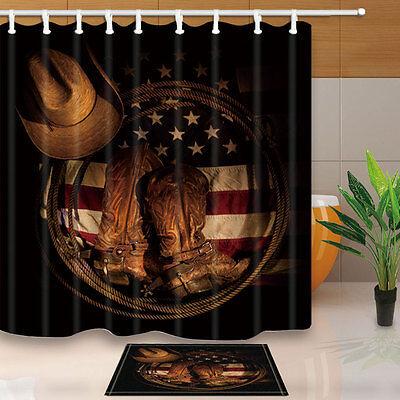 western cowboy shoes on american flag shower curtain set bathroom decor 71inch ebay