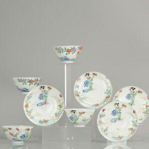 4# Antique Japanese Meiji Period Set Of Chawan Tea Bowls Porcelain Eggsh...
