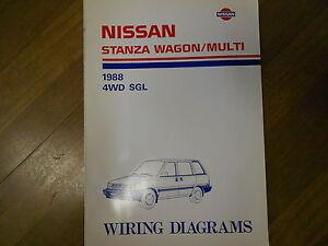 1988 Nissan Stanza Wagon Multi 4WD SGL Wiring Diagram Service Repair Shop Manual   eBay