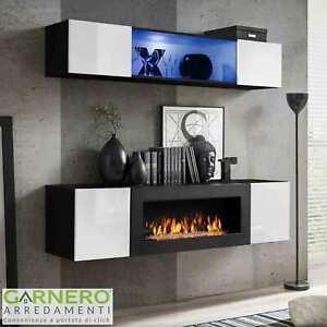 Non importa se in stile classico e moderno, il soggiorno con camino crea un'atmosfera accogliente e rilassante. Parete Attrezzata N Gihome Con Biocamino Porta Tv Caminetto Moderno Con Led Ebay