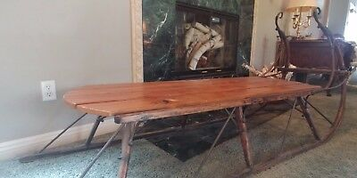 antique sleigh coffee table rustic shabby chic sled holiday christmas lodge ebay