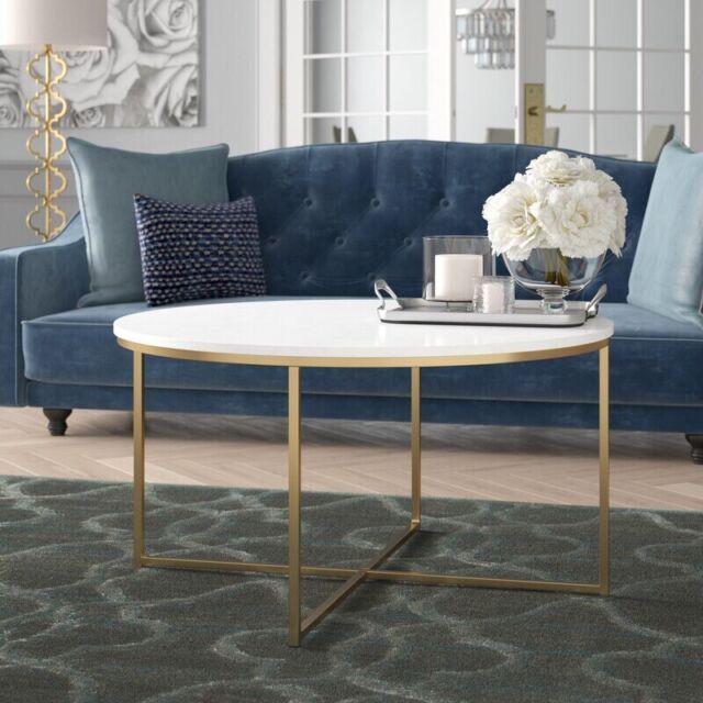 mondeer round coffee table with metal legs grey black