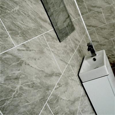 grey marble bathroom tile effect wall panels shower wet wall board pvc cladding ebay