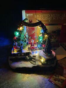 È una neve speciale lo sai? 9 Musica Animata Illuminato Albero Di Natale Villaggio Cardinale Bambini Babbo Natale Swing Ebay
