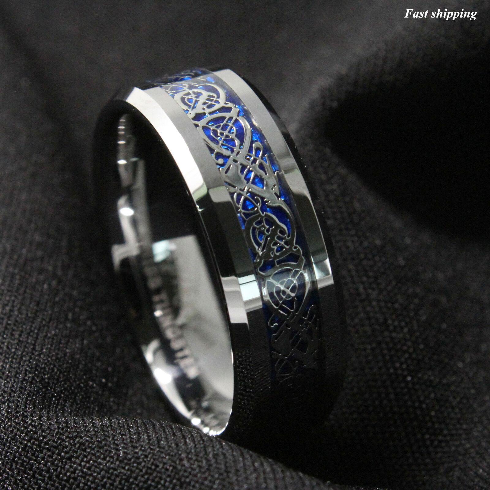 8Mm Silvering Celtic Dragon Tungsten Carbide Ring Mens