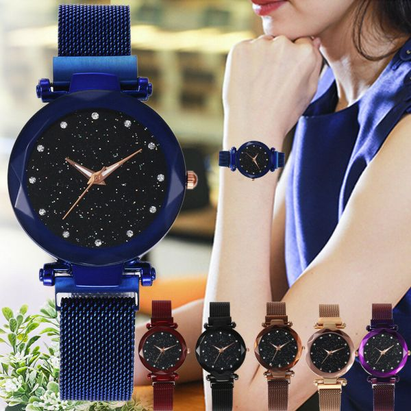 Luxury Starry Sky Masonry Watch Magnet Strap Buckle Stainless Watch Women Gift  1
