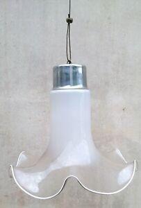 Grande lampadario con 48 tubi in vetro di murano bianco latte, arancione e corallo fatti a mano. Eccezionale Lampadario Anni 60 70 Vetro Soffiato Bianco Murano Ebay
