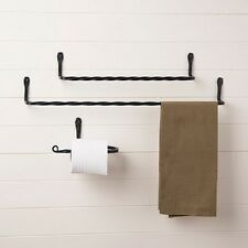 black wrought iron bathroom accessories set towel holders toilet