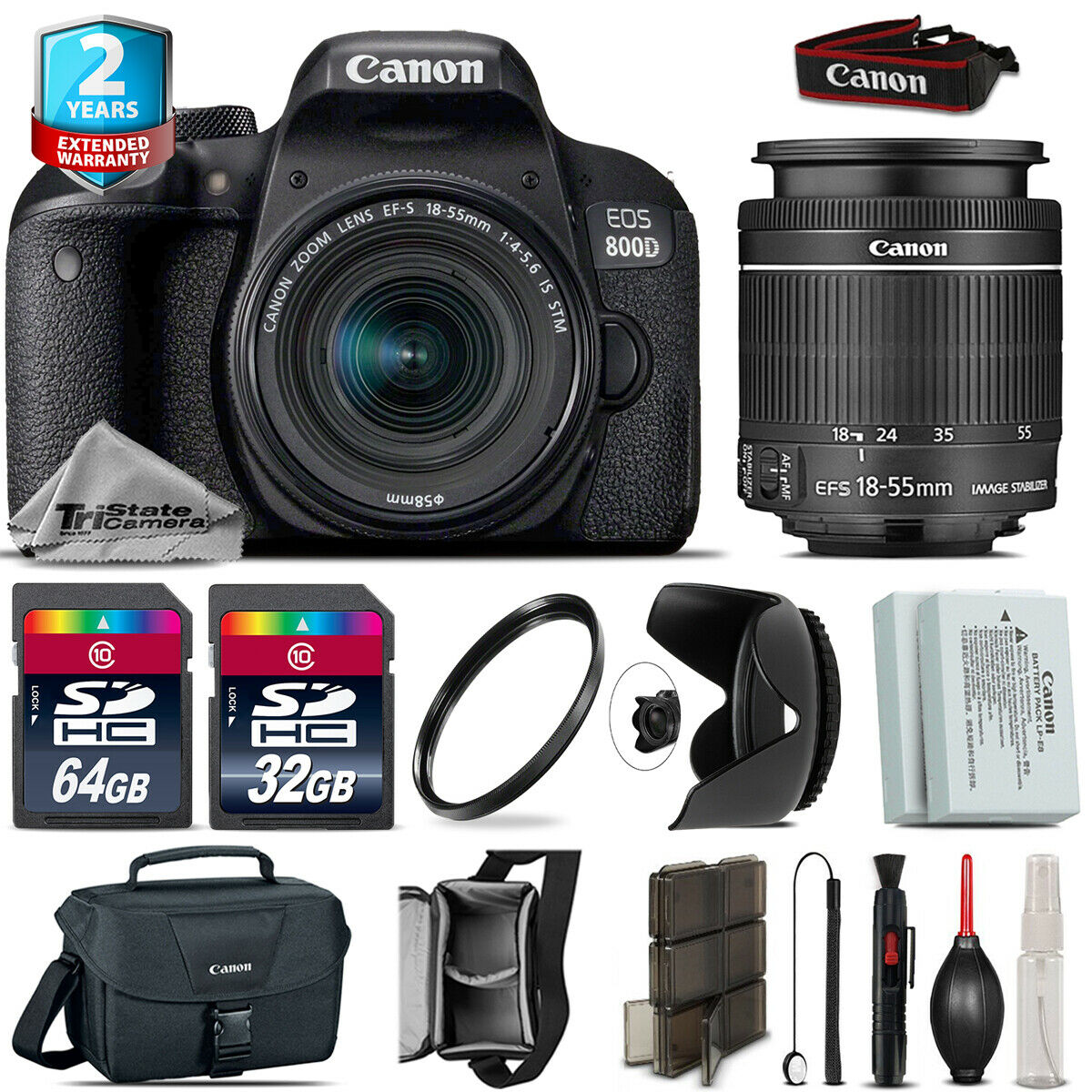 Canon EOS Rebel 800D T7i + 18-55mm IS STM + Tulip Hood + Extra Battery -96GB Kit