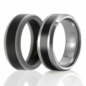 image is loading designed silicone rubber wedding ring men tungsten wedding