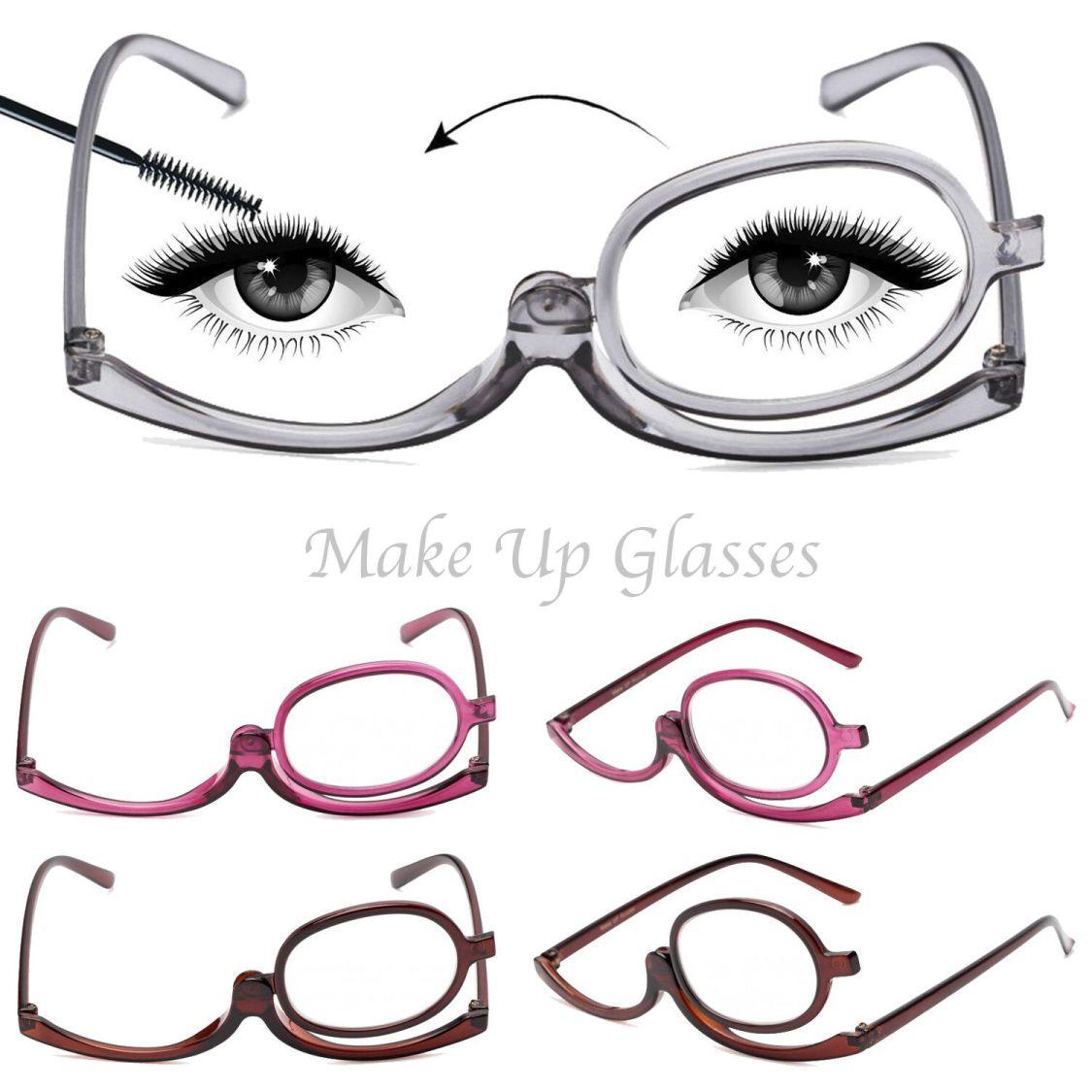 Schminkbrille, Schminkhilfe, Make up, Glas umklappbar- Dioptrien (+1 bis+4)
