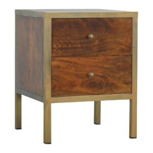 details about art deco style dark wood gold bedside table with 2 drawers and gold handles