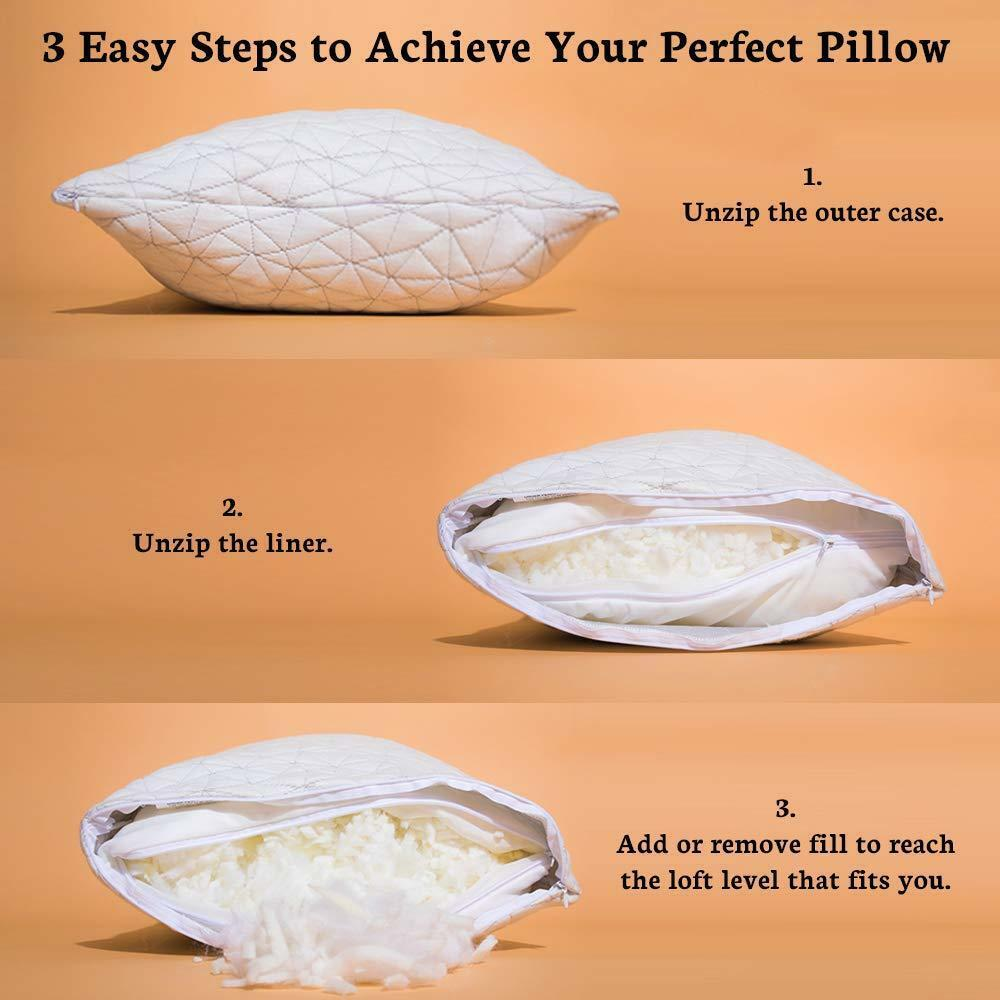 coop home goods shredded memory foam hypoallergenic pillow bamboo cover king a3