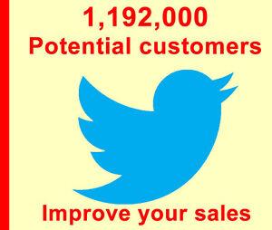 Twitter tweet advertising to 1,192,000 Real People, Boost sales traffic & seo