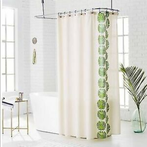 details about threshold palm leaf shower curtain green and cream off white color target new